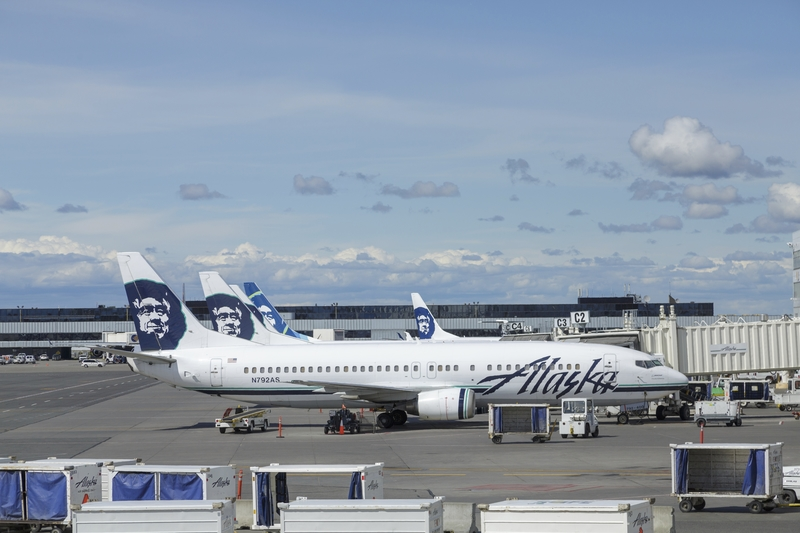 Anchorage Airport is a hub of Alaska Airlines.